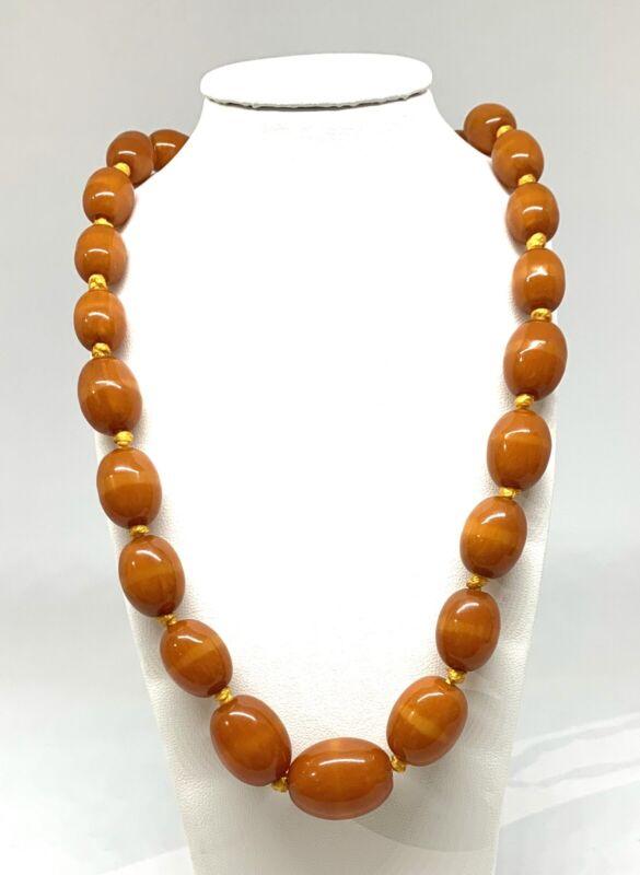 Vintage Dark Caramel Colored Bakelite Bead Necklace