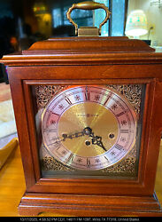 PRISTINE TESTED WORKING MANTLE HOWARD MILLER CHIME MANTLE CLOCK + KEY BEAUTIFUL!