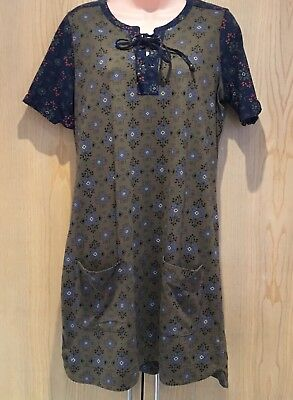 Fat Face Dress UK size 10 Lace-Up Neck Thigh Length Green Navy Blue Short Sleeve - Neck Thigh Length Lace