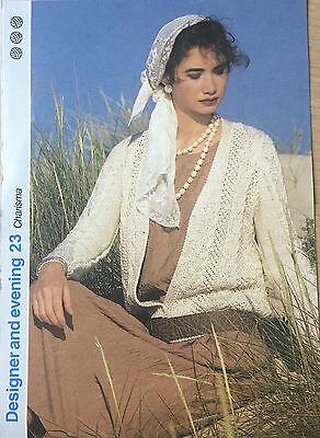 Vintage KNITTING PATTERN Ladies Lace Cardigan Textured Open Design Aran 1986