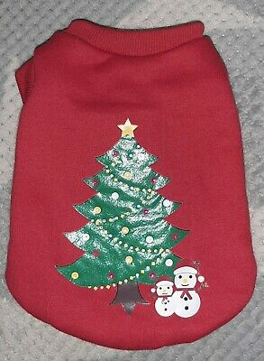 Small Dog Red Christmas Tree Pull On Sweatshirt with Blinking Lights