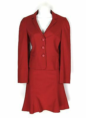 Moschino Cheap & Chic Sz 40 6 Suit Red Cotton Blend Flower Buttons Flared Skirt  - Punk Suit