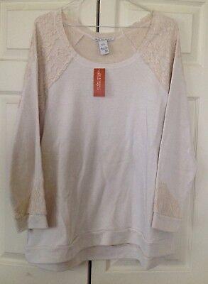 Ntb American Rag Helena Oatmeal Cream Sweatshirt Style Top With Lace Size 3X