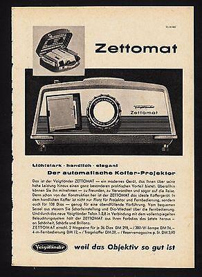 3w1692/ Alte Reklame von 1960 - Voigtländer Diaprojektor - ZETTOMAT
