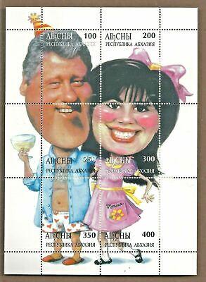 1998 BILL CLINTON & MONICA LEWINSKY ABKHAZIA Souvenir Stamp Sheet with COA #0434