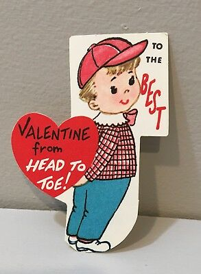 Vtg Valentine Card Little Boy Baseball Cap  Best Head To Toe 60s Unused