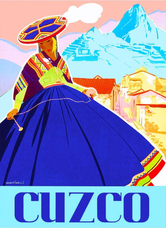 Peru Incas Machu Picchu Cusco Cuzco South America Vintage Travel Poster Print