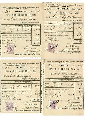 SOCIETA' GAS LUCE CUNEO BOLLETTA QUIETANZA 1908 SETTE RICEVUTE DI PAGAMENTO