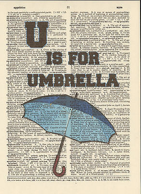 U is for Umbrella Alphabet Altered Art Print Upcycled Vintage Dictionary -