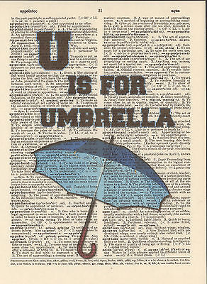 U is for Umbrella Alphabet Altered Art Print Upcycled Vintage Dictionary Page](U Is For Umbrella)
