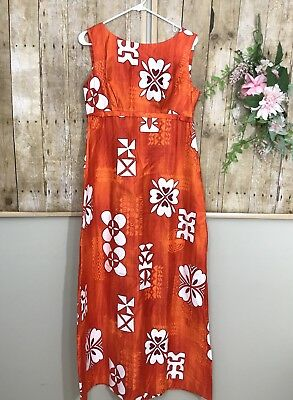 Womens Vintage Maier Specialty Shops Orange Floral Maxi Dress sz 16 Honolulu - Specialty Shops