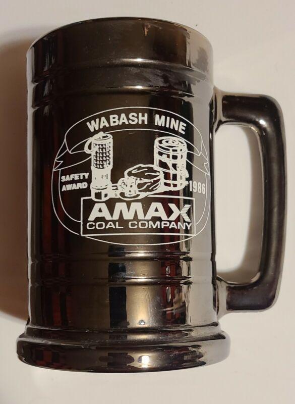 AMAX COAL CO. Vintage 1986 Wasbash Mine  Safety Award Mug Gray/Glass