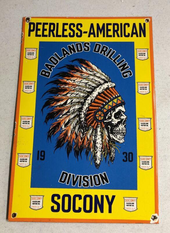 """OLD VINTAGE 18"""" PEERLESS AMERICAN SOCONY PORCELAIN SIGN GAS OIL"""