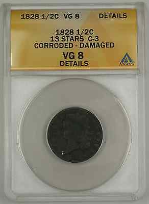1828 CLASSIC HEAD HALF CENT COIN ANACS 13 STARS C 3 CORRODED DAMAGE VG 8 DETAILS