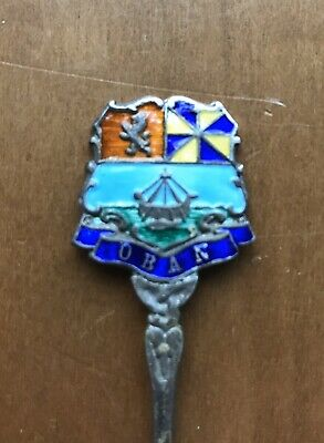 Silver And Enamel Souvenir Spoon For Oban.   Birmingham 1939