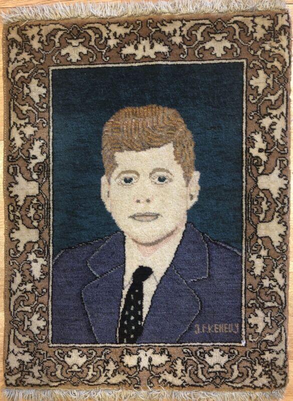 Presidential Portrait - 1960s John F. Kennedy Rug - Oriental Carpet 1.5 X 1.6 Ft