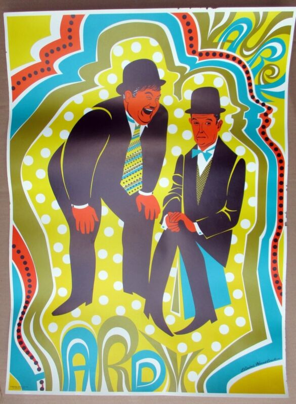 LAUREL & HARDY 1968 Psychedelic Mod 1930s Movie Star Poster by Elaine Havelock