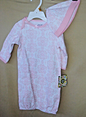 LITTLE ME 100% Soft Cotton Pink DAMASK SCROLL Gown w/Matching Hat  NWT