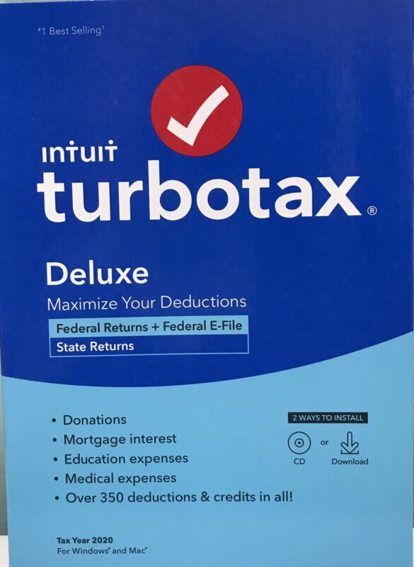 INTUIT TURBOTAX DELUXE 2020 , FEDERAL & STATE RETURN, DISC INSIDE , NEW