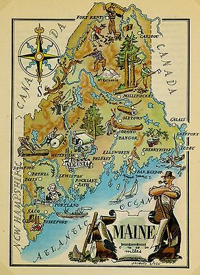 Maine Antique Vintage Pictorial Map