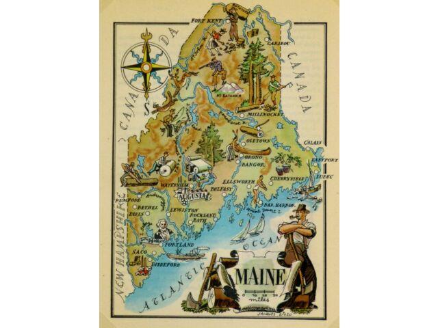 Maine Antique Vintage Pictorial Map  (Postcard size)