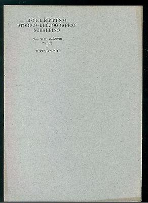 BOLLETTINO STORICO-BIBLIOGRAFICO SUBALPINO 1940 BIBLIOGRAFIA
