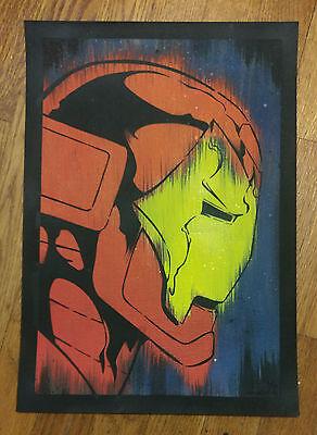 Michael Latimer Hand Spray Painted Super Hero Fe Iron Man /20 2012 Avengers