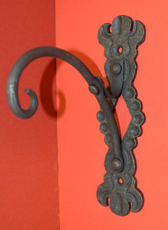 Shepard Hook Wall Hanger, Wrought Iron, Elegant Detailing by Blacksmiths, USA