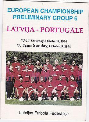 1994 LATVIA VS PORTUGAL EUROPEAN CHAMPIONSHIP PRELIM. GROUP 6 SOCCER PROGRAM