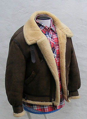 Avirex sheepskin leather flying jacket 46 XL mens vtg biker brown bomber  for sale  Shipping to South Africa