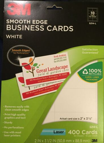 """3M Smooth Edge Business Cards White S214-L 2"""" x 3 1/2"""" 400 Cards"""