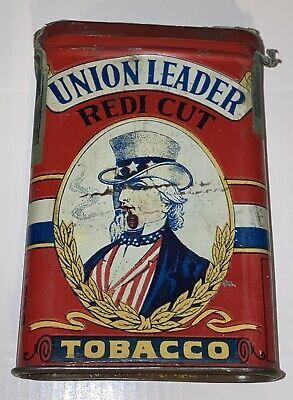 Antique Vtg Early Union Leader Redi Cut UNCLE SAM Pipe & Cigarette Tobacco Tin