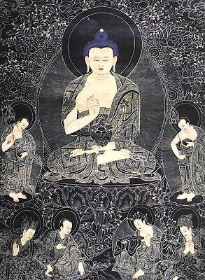 Original Tibet Buddha Mystisch Thangka Buddha Groß alt 90x54cm Thanka