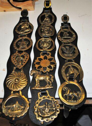 Vintage 15 Brass Horse Saddle Medallion Leather Bridal Tack Harness Ornament