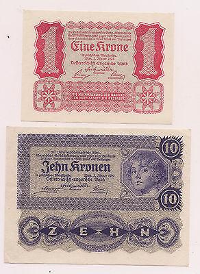 1922 Austria  Banknotes (P73 &P75)---UNC Condition !!