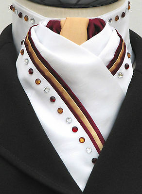Ready Tied White Gold & Burgundy Triple Piping & Diamante Dressage Riding Stock