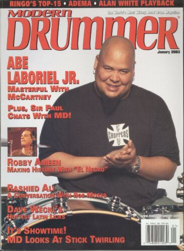Modern Drummer Magazine January 2003 Abe Laboriel Robby Ameen Stick Twirling