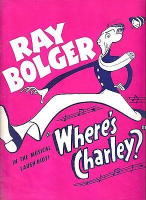 "Ray Bolger (Signed) ""WHERE'S CHARLEY?"" Al Hirschfeld / Frank Loesser '49 Program"