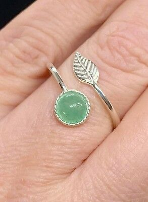 925 Sterling Silver Feather Ring Aventurine Quartz Green Adjustable Midi Ring