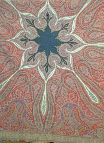 Antique 19th Century KASHMIRI PAISLEY SHAWL Hand Embroidered UU980