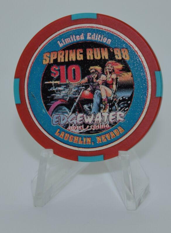 Edgewater $10 Casino Chip Laughlin Nevada 1998 Bud Jones