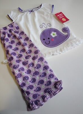 Carter's Pajama Set Size 12 Months Top Pants Purple Whale Lightweight NEW