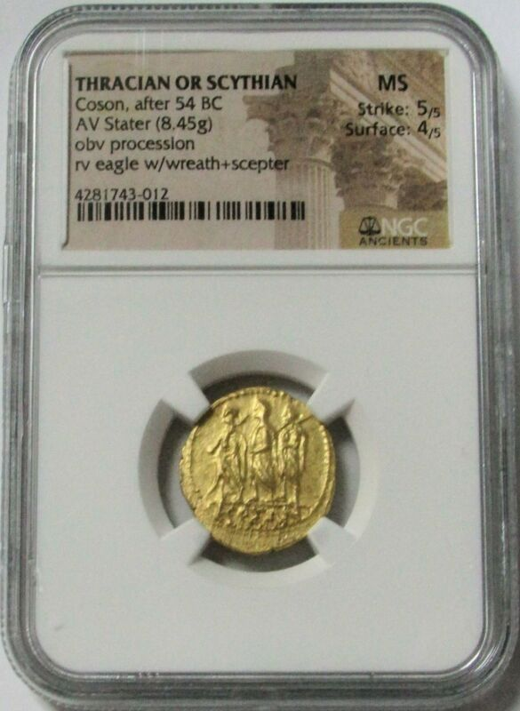 54 BC. GOLD ANCIENT THRACIAN / SCYTHIAN STATER COSON COIN NGC MINT STATE 5/4