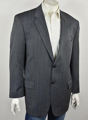 JOSEPH ABBOUD Gray Striped Herringbone Woven Wool Classic Fit Suit Jacket 44L