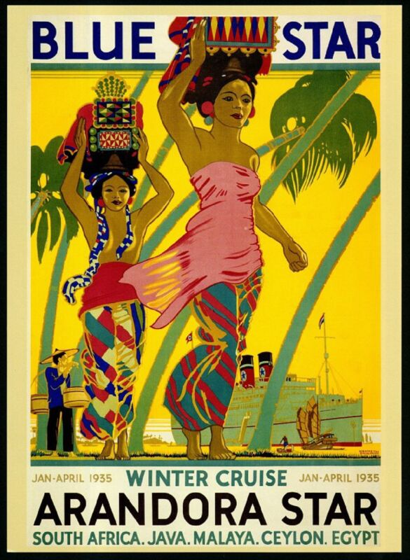 Blue Star Line South Africa Sri Lanka Ceylon Egypt Vintage Travel Poster Print