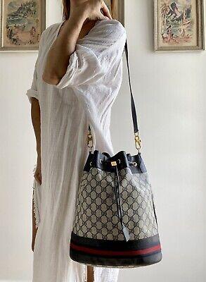 Authentic Vintage GUCCI Blue Monogram GG purse Shoulder BAG Striped Drawstring