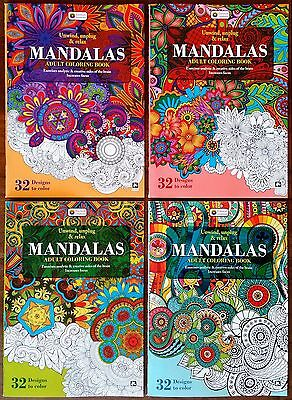 Adult Coloring Books, Mandalas Lot of 4 Complete set BEST QUALITY FOR THE PRICE!