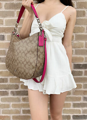 Coach F39527 Elle Hobo Top Zop Shoulder Bag Khaki Signature Pink Cerise Top Hobo Purse