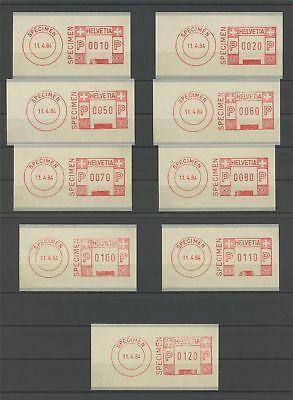 SCHWEIZ PAKET-ATM 1984 AUTOMATENMARKEN SPECIMEN!! PROBE MUSTER PROOF TRIAL m1192