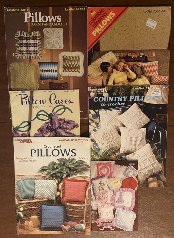 Lot of 6:Pillows to Knit and Crochet, Pillow Cases, Pillow Parade,Country Pillow